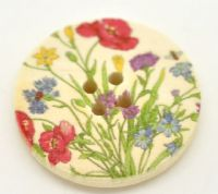 "10 Multicolor Flower Pattern Wooden Buttons 4 Holes Round 3cm(1 1/8"")"